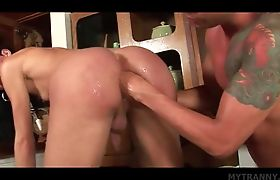 Sensual ladyboy gets ass fisted and deep fucked